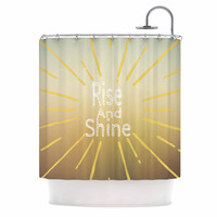 """Suzanne Carter """"Rise And Shine"""" White Yellow Shower Curtain"""