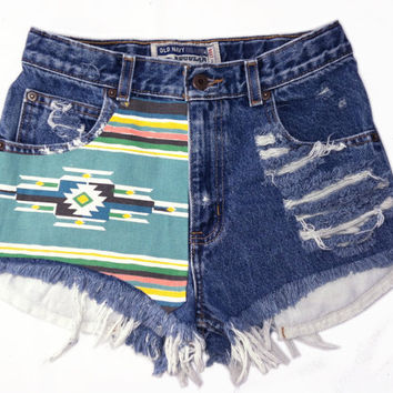 Native American print cutoff shorts by Omeneye on Etsy