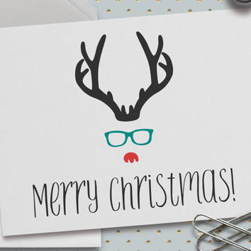 Rudolph Reindeer Merry Christmas Card, Hipster Rudolph, Minimal, 5.5 x 4.25 Inch (A2), Christmas Greetings, Holiday Greetings, Fun Christmas