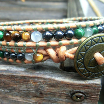 Men's Unisex Handmade Leather Wrap Ethnic Boho Bracelet