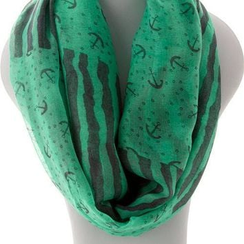 Anchor Infinity  Scarf - Green