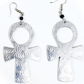 Medium sized & Light Ankh African Earrings with imprints by Doorstoafrica