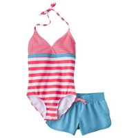 Girls' 1-Piece Striped Swimsuit and Short Set