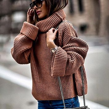 Turtleneck Loose Casual Long Bell Sleeve Sweaters