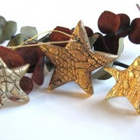 Ceramic Star Christmas Ornaments Set of Three by DovecoteDesign on Zibbet