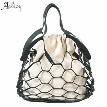Aelicy Fishnet Shopping Shoulder Bags Tote Mesh Net Woven Cotton Designer Handbags High Quality Shoulder Bag Fashion Beach bag