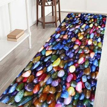 Anti Slip Colorful Stone Coral Velvet Floor Rug