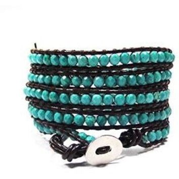 Day-First™ Chan Luu Style Wrap Bracelet Brown Leather and Turquoise