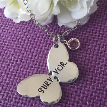 Semicolon Necklace - Semicolon Jewelry - Survivor - Butterfly - Suicide Awareness - Depression - Keep Fighting - Life - Birthstone