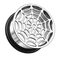 Spider Web Hollow 316L Surgical Steel Single Flared Ear Gauge Plug