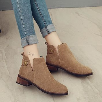 On Sale Hot Deal Casual Winter Pointed Toe With Heel Suede Matte Boots [11192772167]