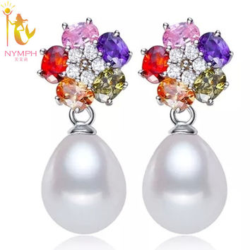 NYMPH Brand Natural freshwater pearl,7-8mm S925 sterling silver long dangle earrings  for girls E117