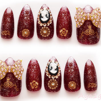3D nails, gothic lolita, egl, goth, big bows, bling, burgundy, dark red, gold, stiletto nails