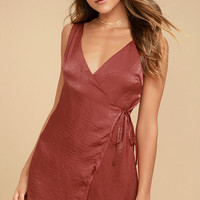 Enigmatic Rust Red Satin Wrap Dress
