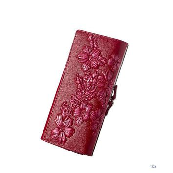 Leatherworks Genuine Leather Wallet Embossed Floral Long Purses High Quality Clutch