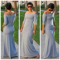 Off-Shoulder Half Sleeve Maxi Dress