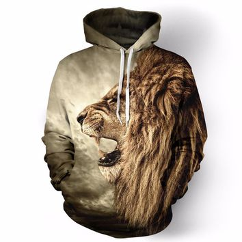 2016 New Sweatshirt Fall/Winter Casual animal hoodies 3D lion sweatshirt print lion head hip hop pullover hoodies street wear