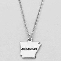 Arkansas State Plated Pendant Necklace