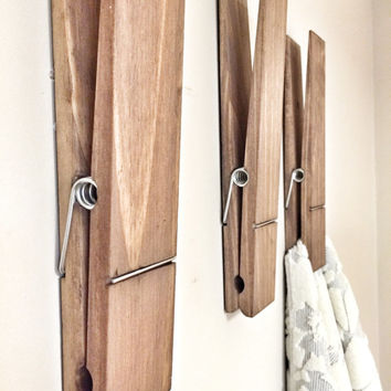 "SUPER HUGE Jumbo Rustic 12"" Decorative Clothespin in dark walnut finish - office home bathroom nursery wall decor note photo picture holder"