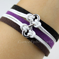 Wool leather bracelet, white wax rope infinity karma bracelet, infinity, wax rope color adjustable, friendship gift