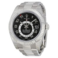 Rolex Sky Dweller Black Dial 18K White Gold Rolex Oyster Automatic Mens Watch