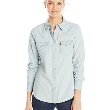 Levi's Women's Tailored Western Shirt, Bleached Wash, Small