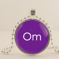 "Copy of Om, ohm, purple, 1"" glass and metal Pendant necklace Jewelry."