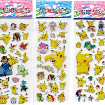 SET 3  nursery Pokemon Foam 3D Stickers for Kids Baby boys and Girls Gift,Cute Pikachu vinyl for laptop mobile ipad skin decor