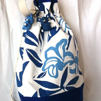 Blue and white bag, flowers bucket bag, handmade printed fabric bag, large handbag, trendy, casual chic shoulder bag, made in france