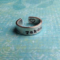 Custom Hand Stamped Aluminum Skinny Ring by LaurenElaineDesigns