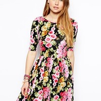 ASOS Skater Dress With Wrap Back In Floral Print - Multi