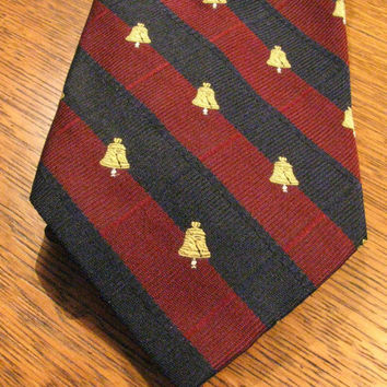 Patriotic Tie, Pride of America, Bicentennial Necktie, Briar Label, Embroidered Liberty Bell, Wide Navy and Burgundy Stripes, 1776 1976