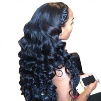 Pre Plucked Lace Front Brazilian Human Hair Wigs With Baby Hair Body Wave Non-remy Bleached Knot