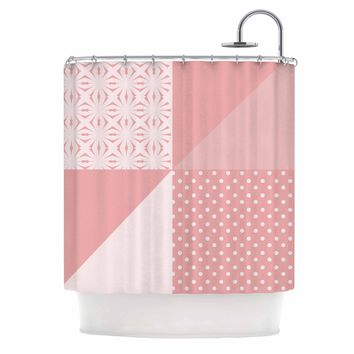 "afe images ""AFE Abstract2"" Coral Pink Abstract Pattern Digital Illustration Shower Curtain"