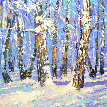 "Birch forest - Сontemporary Palette Knife Oil Painting on Canvas by Dmitry Spiros. Size: 24""x32"" (60x80cm)"