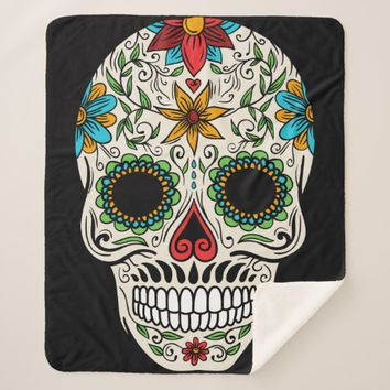 Day of the Dead Sugar Skull Sherpa Blanket