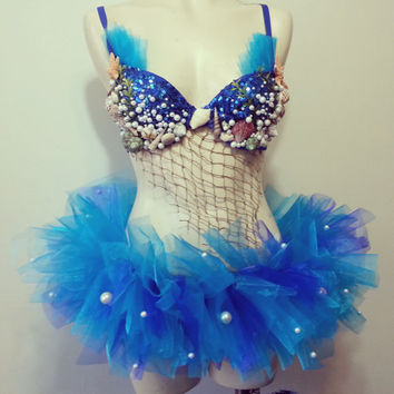 Mermaid- Rave Outfit, Tutu, Blue Sequin, Shells