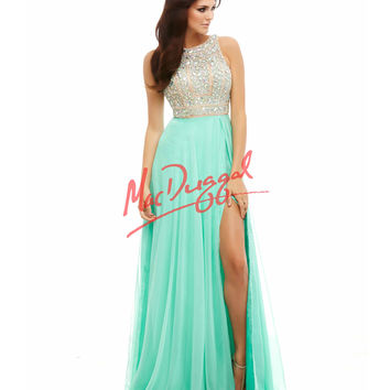 Cassandra Stone by Mac Duggal 40403A Embellished Bodice Mint Green Gown 2015 Prom Dresses