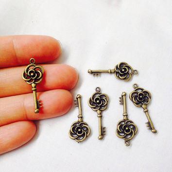 10 Rose Key Charms Souble Sided Antique Bronze Tone
