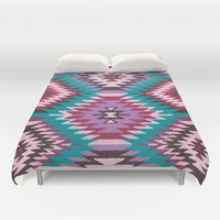 Navajo Dreams - Turquoise Duvet Cover by Bohemian Gypsy Jane