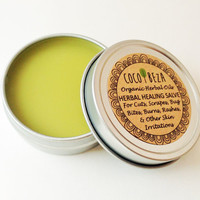 Herbal Healing Salve-Travel Size Tin-Natural & Organic Calendula, Comfrey, Virgin Coconut Oil-Dry Skin, Bug Bites, Eczema, Rash, Cuts, Burns