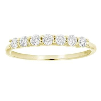 AGS Certified SI2-I1 1/2 ctw 14K 7 Stone Diamond Wedding Band (H-I Color)