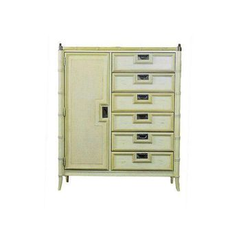 Pre-owned Faux Bamboo Campaign Bureau Chest