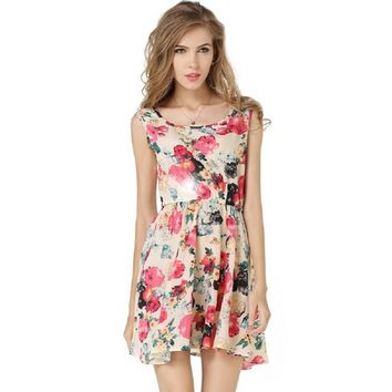 Chiffon Printed Sleeveless Mini Dresses