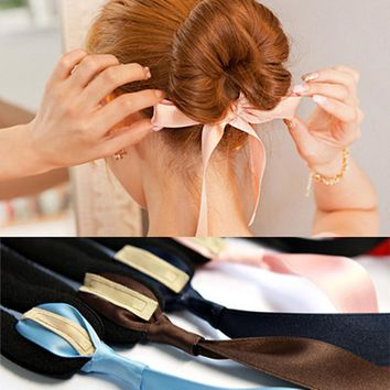 3pcsFashion Magic Tools Foam Sponge Messy Donut Bun Hairstyle Bows Headwear Elastic Hair Band Accessories For Women Lady Girl