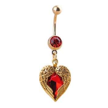 Heart Wings Shaped Belly Red Rhinestones Inlaid Navel Bell Button Ring Charming Body Piercing Jewelry
