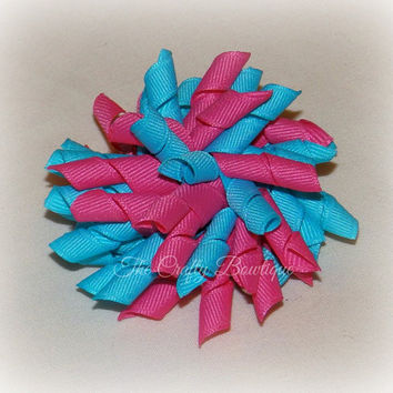Hot Pink & Turquoise Bow ~ Hot Pink Korker Bow ~ Turquoise Korker Bow ~ Korker Pigtail Bows ~ Large Korker Bow ~ Small Korker Bow