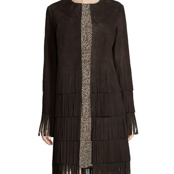 Long-Sleeve Suede Layered-Fringe Coat, Chocolate, Size: