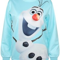 Maykool Women's Light Blue Frozen Snowman Print Sweatshirt Size One-size