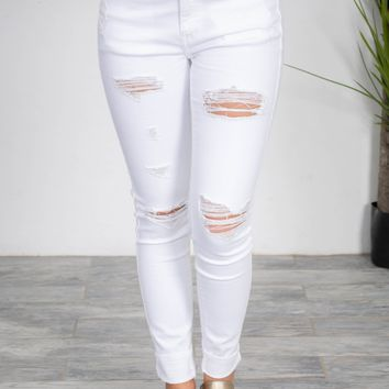 Arctic White Distressed Skinny Denim